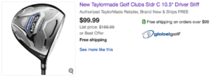 Sold eBay Listing for TaylorMade SLDR Driver