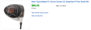 Sold eBay Listing for TaylorMade R1 Driver