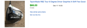 Sold eBay Listing for TaylorMade RBZ Driver