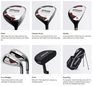 Everything included in Callaway Strata Complete Golf Set Driver, Woods, Hybrids, Irons, Wedges, Putter, Bag