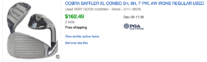 Sold eBay listing for Cobra Baffler XL Golf Irons Combo Set Under $200 Budget
