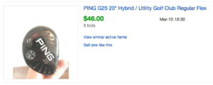 Ping G25 Hybrid price and ebay value