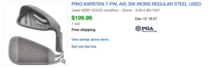 Sold eBay Listing for the Best Budget Senior Ping Karsten Irons