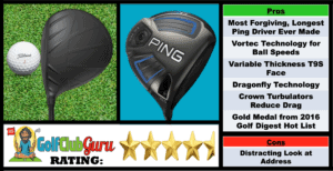 Photos, Review, Ranking, Pros, and Cons of Ping G SF Tec Driver 2016