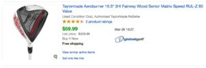 ebay listing of TaylorMade Aeroburner 3W