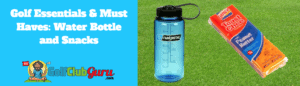 golf water bottle and snacks