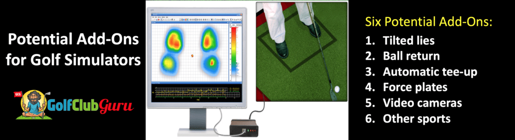 tilted lies ball return automatic tee up force weight distribution plates video cameras other sports golf simulators