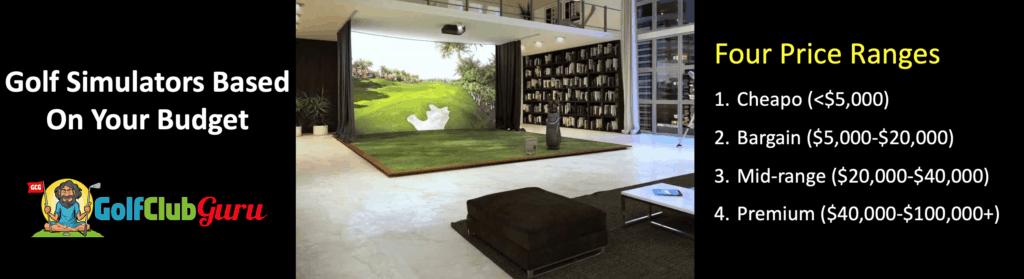 four price ranges for indoor golf simulators