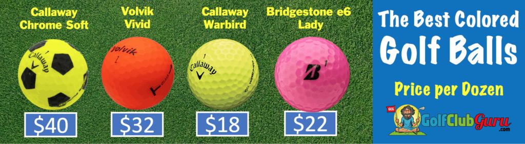 comparison of prices of colored golf balls callaway soft chrome vs warbird vs volvik vivid vs bridgestone e6 lady pink