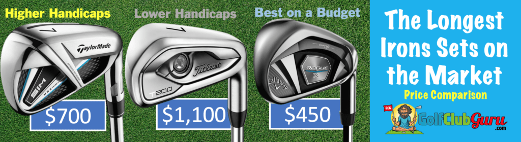 comparison difference longest distance irons taylormade sim max titleist t200 callaway rogue x longest irons sets