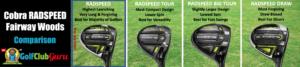 cobra radspeed vs tour vs big tour vs draw difference comparison
